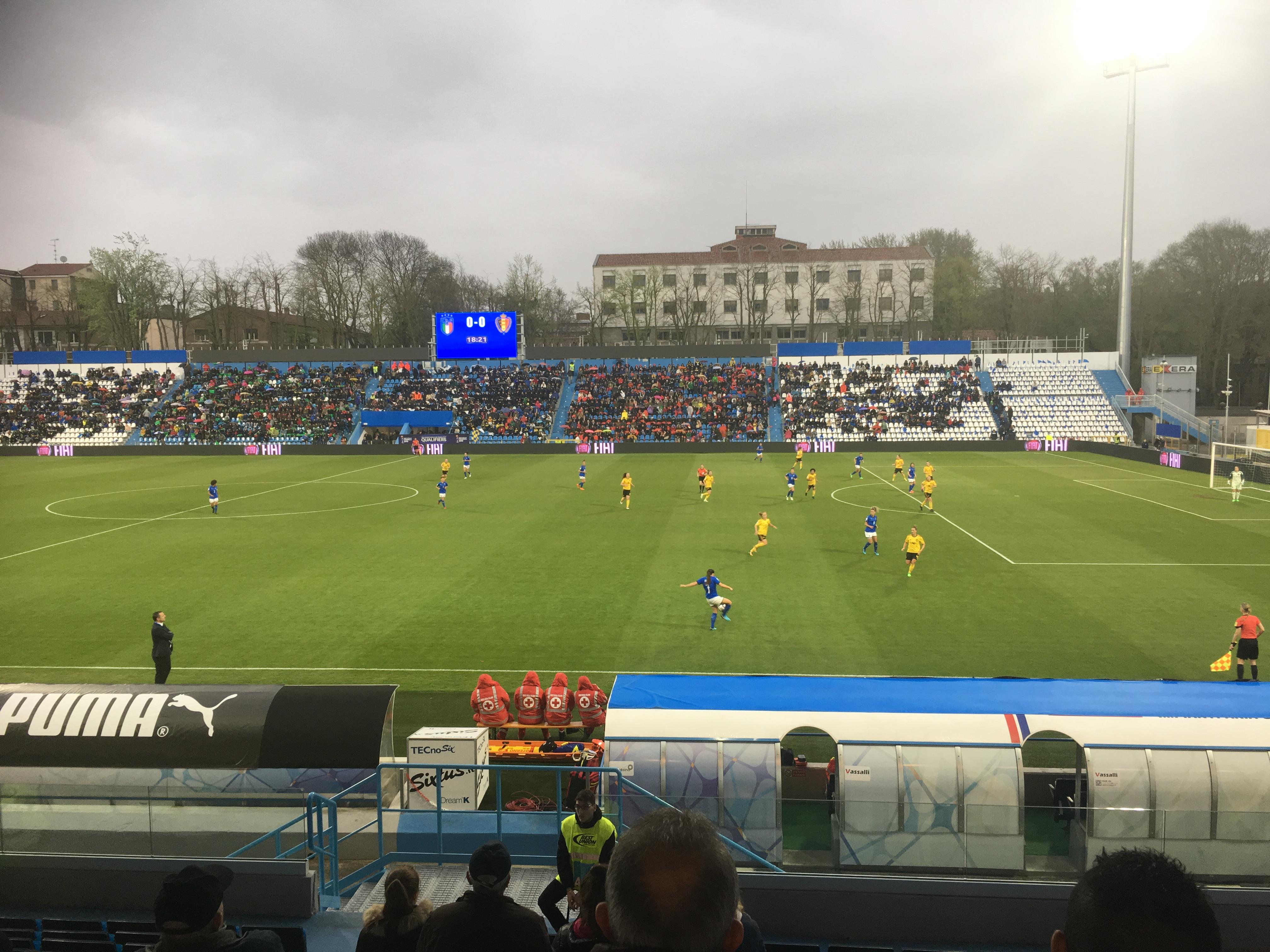 Un'immagine di gioco del LIVE di Italia-Belgio