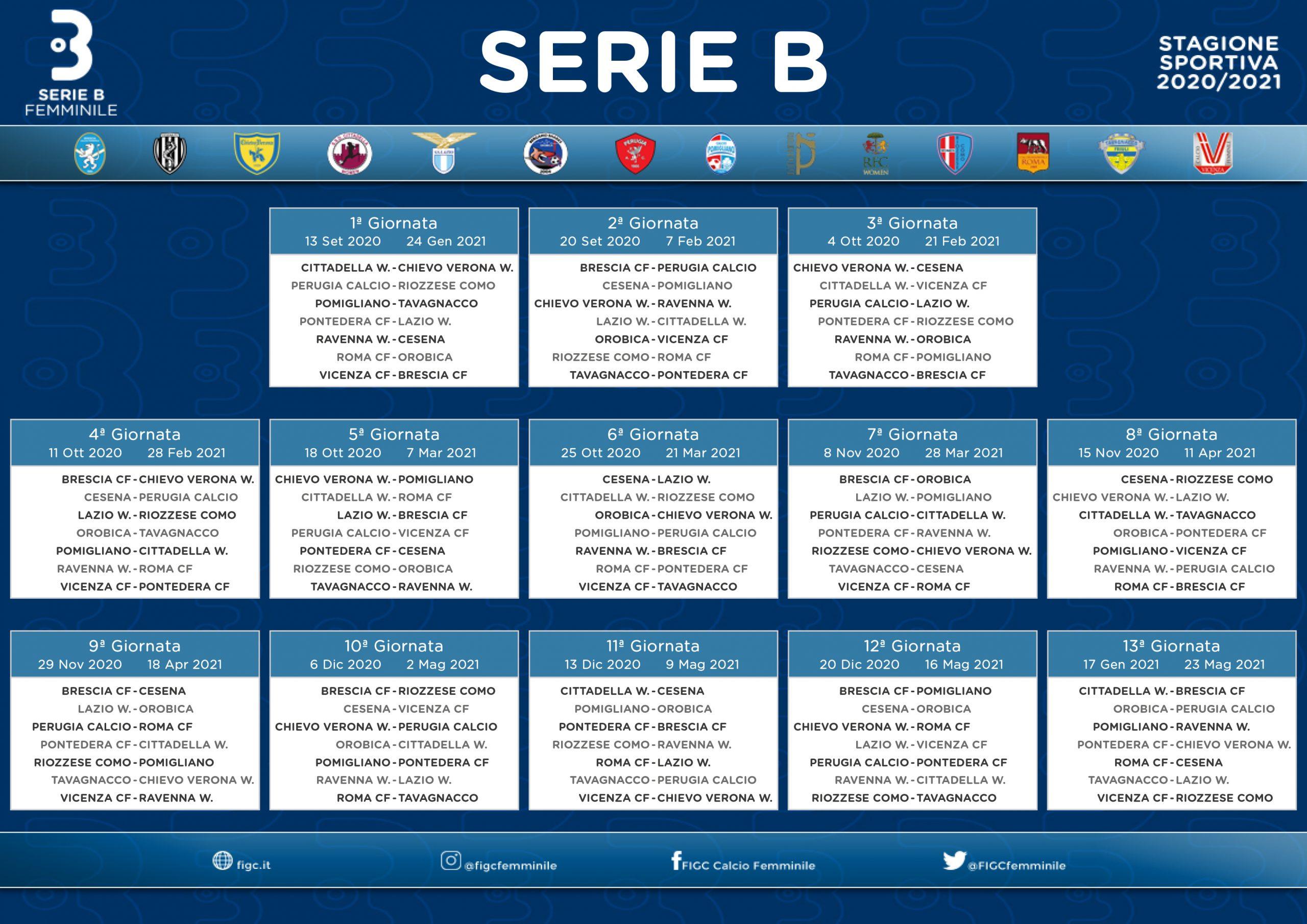 Calendario Serie B Stagione 2020/21